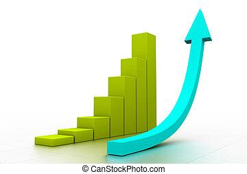 3d, gráfico, mostrando, levantar, em, lucros