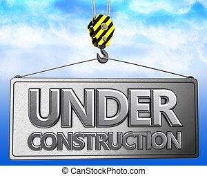3d, grúa, gancho, con, metálico, bajo construcción, señal