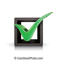 3d, grün, prüfen markierung, kasten