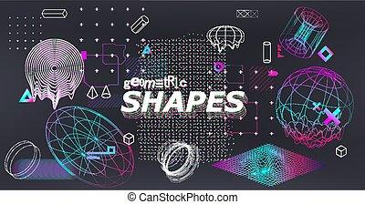 3D gradient shapes set