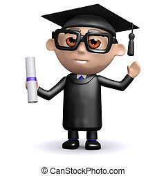 3d Graduate holding a diploma