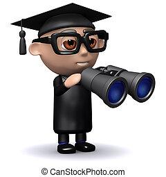 3d Graduate looks through binoculars - 3d render of a ...