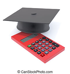 3d Graduate mortar board on calculater - 3d render of a...