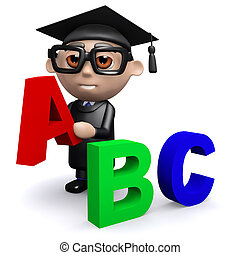3d Graduate teaches the alphabet