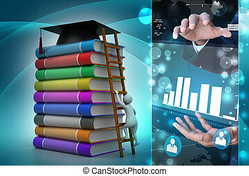 3d graduate with book and graduation hat