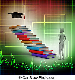 3d graduate with books and graduati