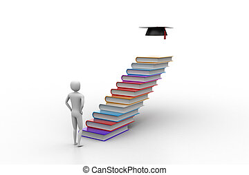 3d graduate with books