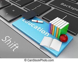 3d graduation cap, books on computer keyboard.