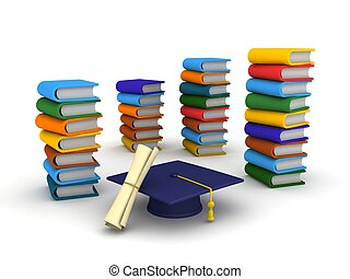 3D Graduation Cap, Diploma, and Boo