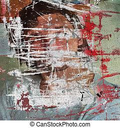 3d graffiti grunge wall with hidden young man boy