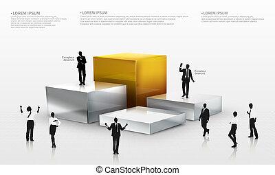 3d, grafico, vettore, intorno, persone