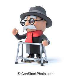 3d Grandpa waving hello - 3d render of an old man with a...