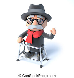 3d Grandpa with his walking frame waving hello - 3d render...