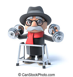 3d Grandpa with walking frame is lifting weights! - 3d...