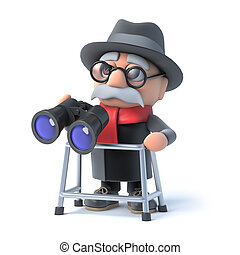 3d Grandpa with walking frame looks through binoculars - 3d...