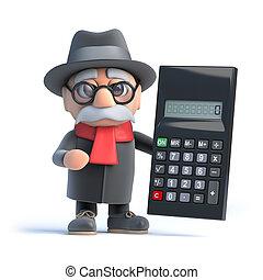 3d Granpa holding a calculator