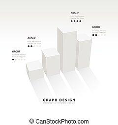 3D grap illustration Infographic white color