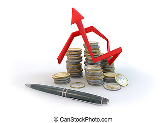 3d Graph Risk of Business money on white background
