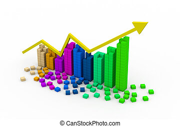 3d graph showing rise in profits