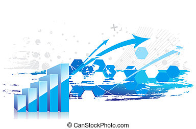 3d graph showing rise in profits or earnings with sample text background . illustration