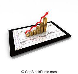 3d graph showing rise in profits or earnings.