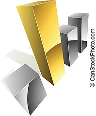 3D graph steel  bars with golden one.