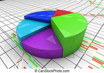3d, graph., tabel, kleurrijke, pastei