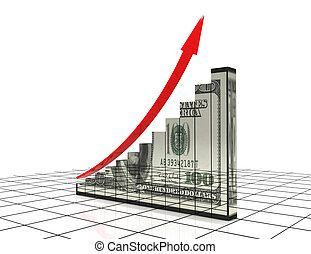 3d graph with dollar reflection. success concept