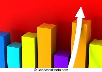 3d graph with growth arrow