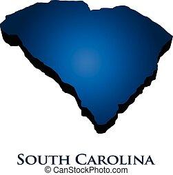 3D Graphic Map Of South Carolina