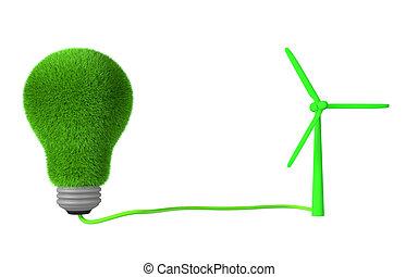 3d grass bulb and wind turbine