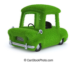 3d Grass covered car