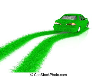 Grass covered car - eco green transport