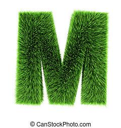 3d Grass letter M - 3d render of a letter M made of grass