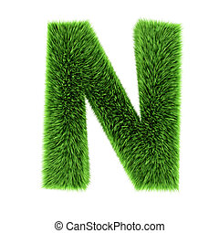 3d Grass letter N