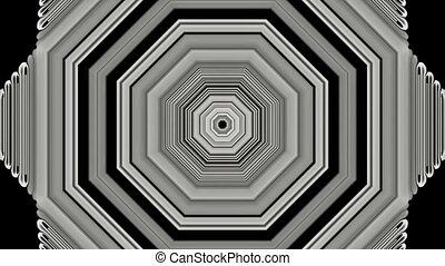 3d gray metal hexagon,tunnel