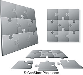 Gray puzzle piece set - 3D Gray puzzle piece set in...
