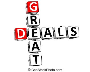 3D Great Deals Crossword on white background