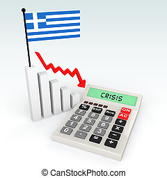 3d Greece crisis concept