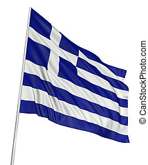 3D Greek flag with fabric surface texture. White background.