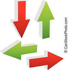 3d green and red arrows pointing to different directions. Up, down, left and right arrows vector illustration