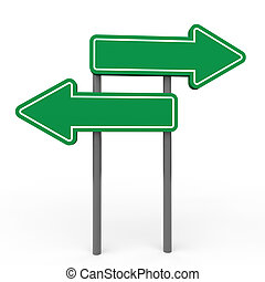 3d green arrow blank sign board