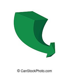 3d green arrow cartoon icon isolated on a white background