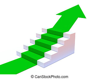 3d Green arrow points up steps