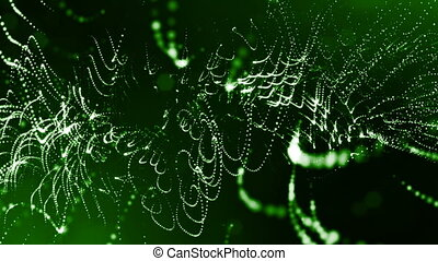 3d green background with fantastic luminous particles. Looped 3d animation with depth of field, light effects. Modern digital background. Curved lines 2