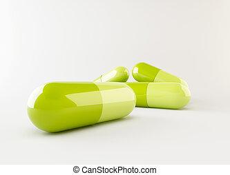 3d green capsule lying on floor
