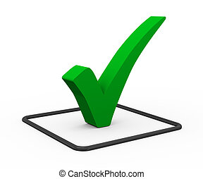3d green check mark - 3d illustration of green right tick...