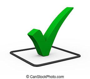 3d green check mark - 3d illustration of green right tick...
