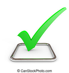 3D green checkmark in chrome checkbox. Computer generated image.