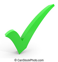 3D green checkmark on white background.